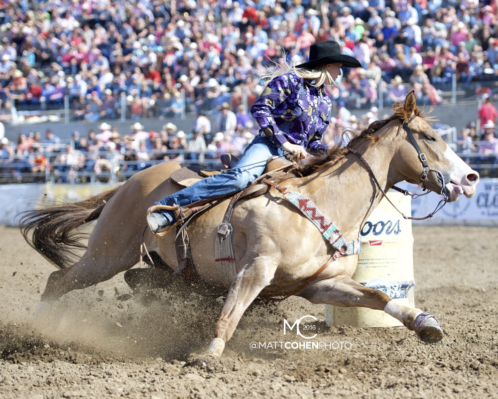 2016 WNFR: Wrangler National Finals Rodeo Qualifiers: Barrel Racing #10 Cayla Melby