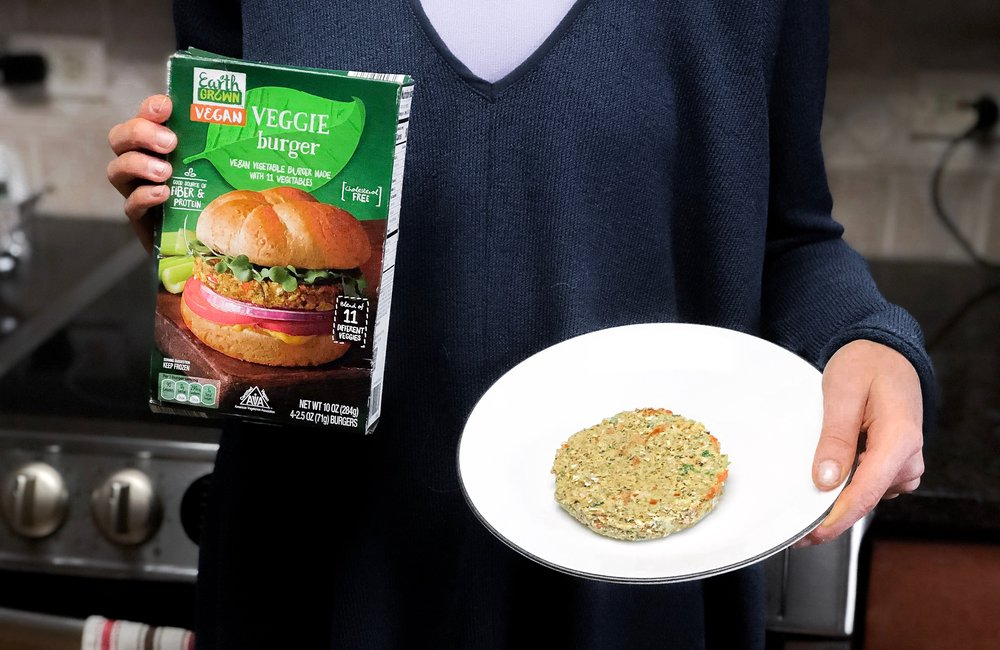 My vegan patty of choice: made with 11 vegetables & free of heme protein. Photograph by Monica Kaplan