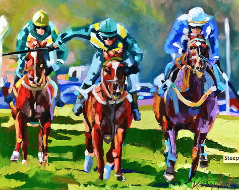 Kate Mullin Williford Horse Painting Steeplechase