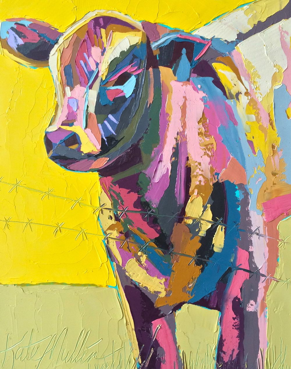 Kate Mullin Williford Cow Painting Yellow