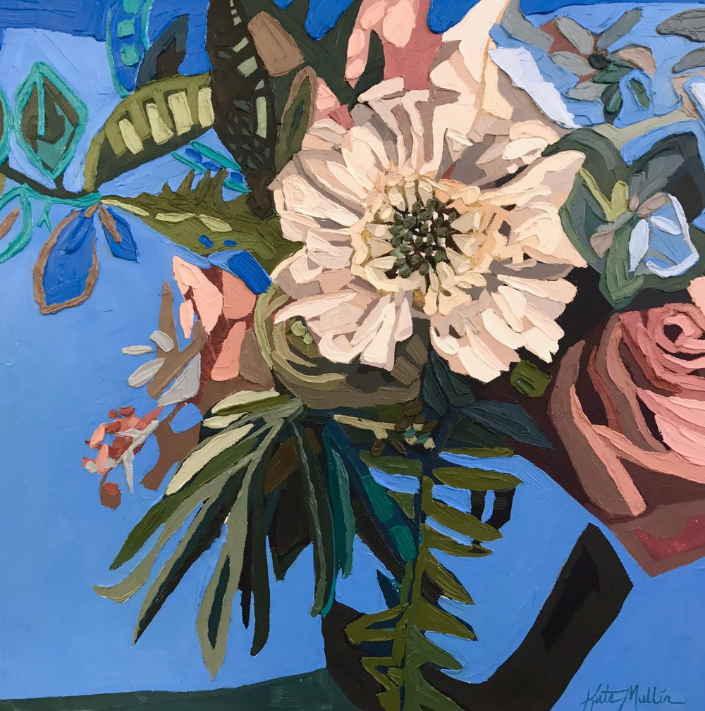 Blue Floral. Oil. Kate Mullin Williford