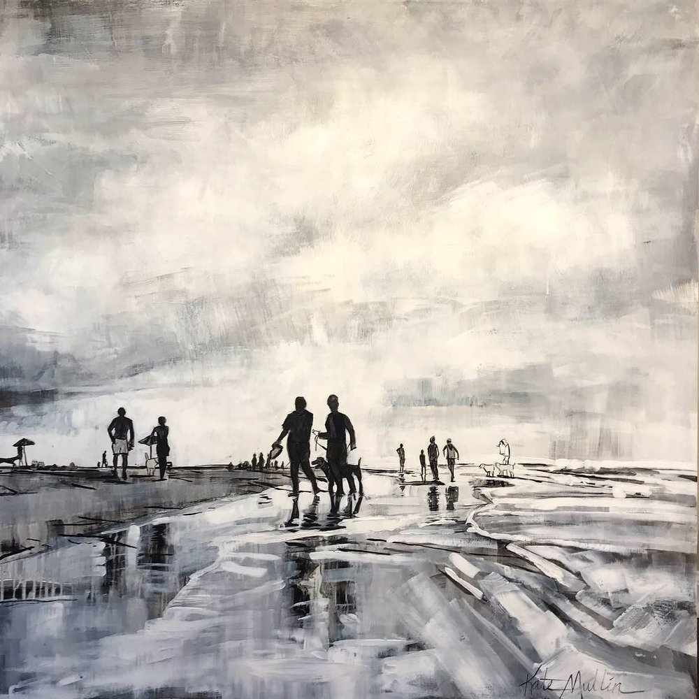 Kate Mullin art Beach Scene Dogs