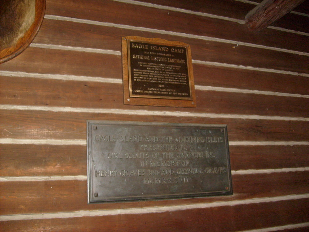 National Historic Landmark plaque and Graves family plaque in the lodge.JPG