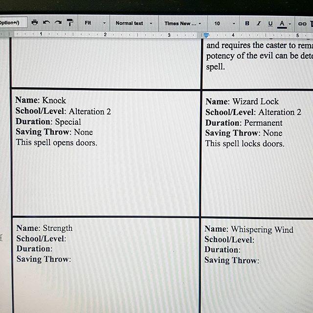 Creative spells really bring a game like #adnd to life! Anyone else make reference cards for their #spellbook? . . . . . #dorks #dorksindungeons #d20 #dungeonsanddragons #dnd #pathfinderrpg #savageworlds #rpg #tabletopgames #improvcomedy #portsmouthnh #tabletoprpg #faterpg #seacoastnh #dungeonworld #knock #wizardlock #googledrive #googledocs
