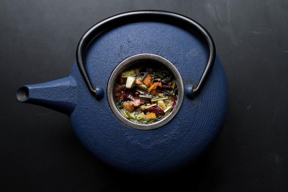 Colourful herbs brewing tea. Pic by  Cole Hutson .