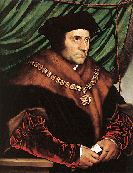 Saint Sir Thomas Moore, who condemned heretics to death. Portrait by  Hans Holbein the Younger .