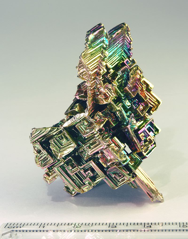 Bismuth crystal, atomic number 83 on the Periodic Table. Pic from  Wikipedia
