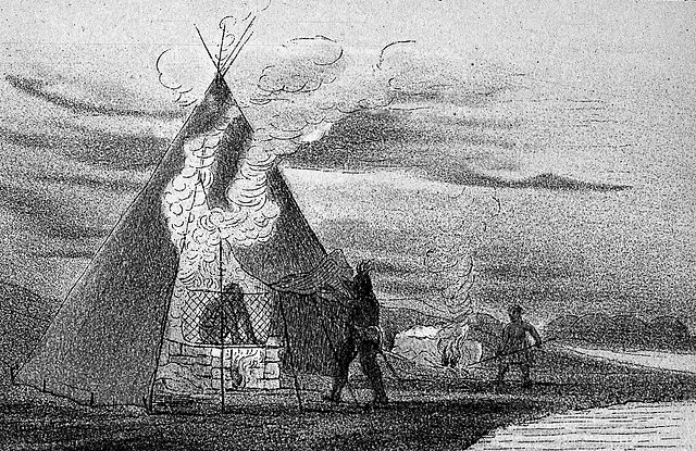 """Vapour baths of North American Indians"" drawing from the  Welcome Collection ."