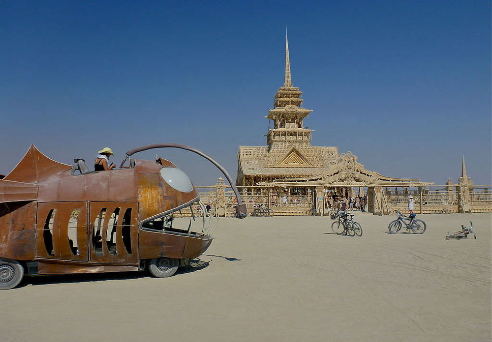Fish vehicle and temple at Burning Man 2012. Photo by  Steve Jurvetson .