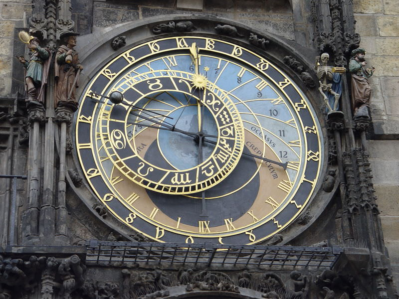 Astronomical Clock (including zodiac) in Prague. Photo by  Maros M r a z