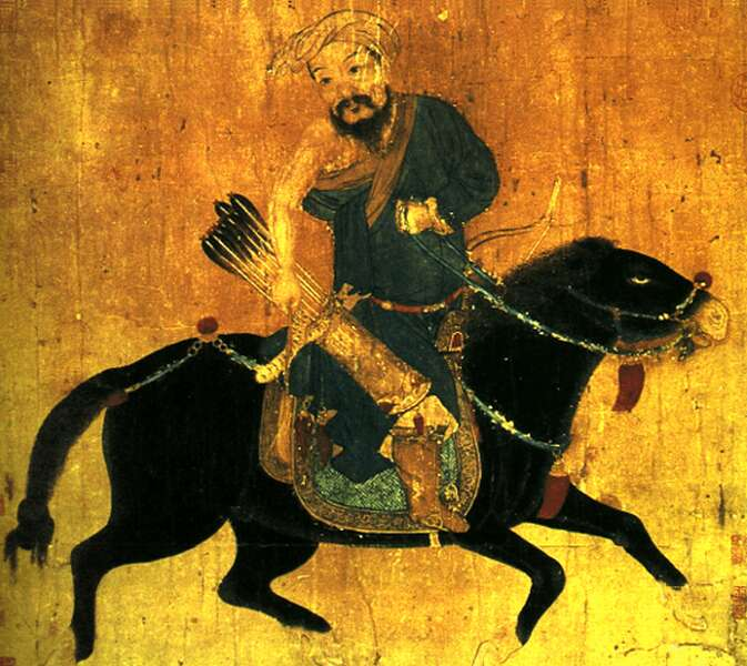 Mongol light cavalryman. Ming Dynasty ink on paper. V&A Museum, London. Photo  Wikimedia .