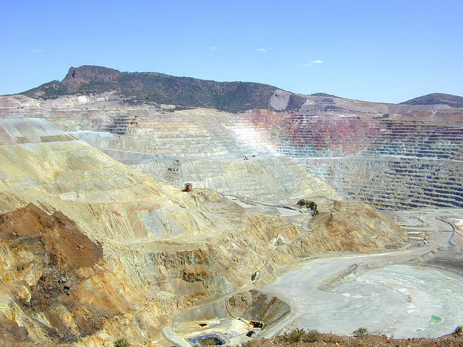 Open pit copper mine in New Mexico, USA. Photo by  Eric Guinther.