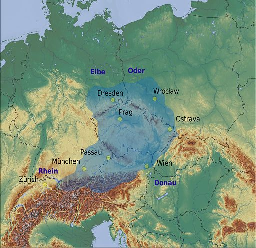 Relief map of flooding in Central Europe, 2013. Courtesy  Austrian Press Agency .