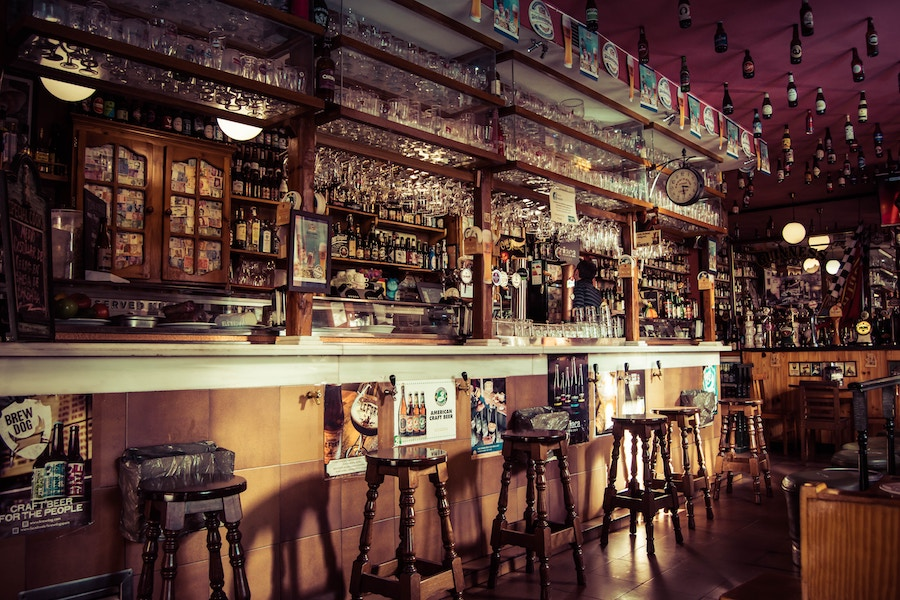 Spanish Alcohol, no longer forbidden. Bar in Madrid by  Maia Eli.
