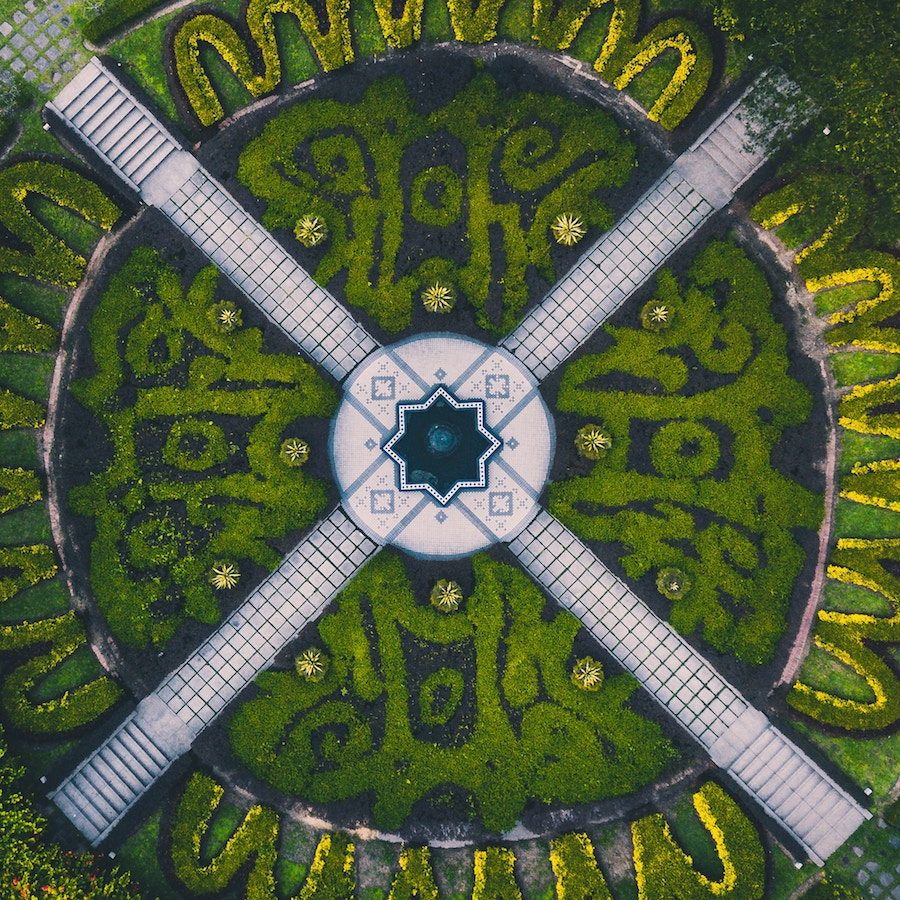Aerial view of a maze in the Botanical Gardens at Kuala Lumpur. Photo by Deva Darshan.