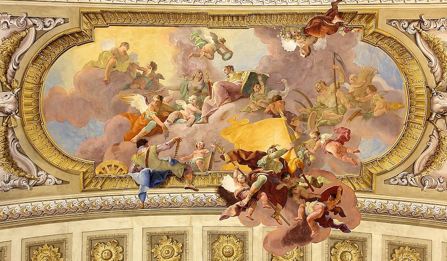 Law and War. Allegorical painting by  Daniel Gran, 1730.  Ceiling of the Austrian National Library.