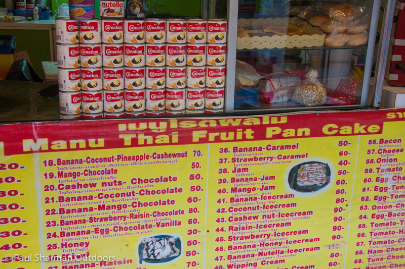 Thai pancake stall - choices galore!