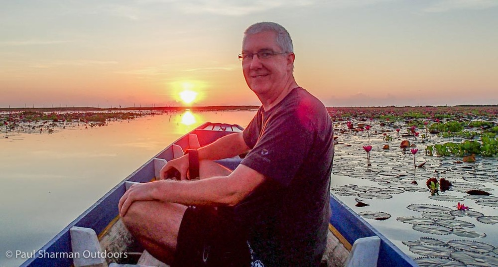 A magical moment - sunrise at Thale Noi and a rare glimpse of the author in front of the camera for a change.