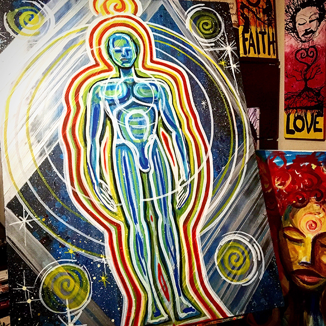 Peace Love Light Body Acrylic On Canvas Painting by Nathan Jalani Taylor