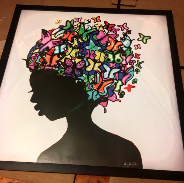 """Butterfly Woman"" Framed Poster Print, an example of the quality prints of Nathan's work at zazzle.com."