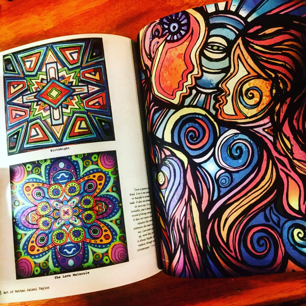 "Left: ""Birthright"" and ""The Love Molecule"" Right: ""Lucid Love"" illustrations"
