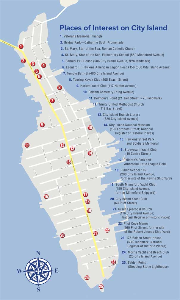 City Island Walking Tour Map, Provided by: City Island Nautical Museum