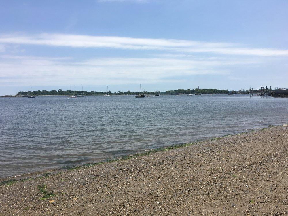 The Eastside Beach access by  Cross Street  with views of Hart Island