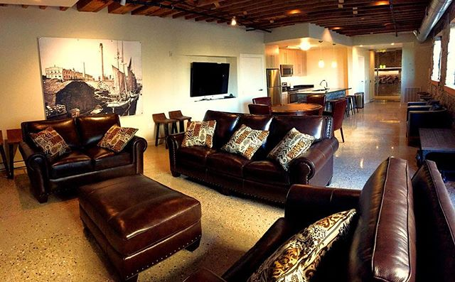 Club Room at the #beamhouse. Host your private events here or just relax for the big game! #living #mke #urban #historic #lofts #riverplacelofts