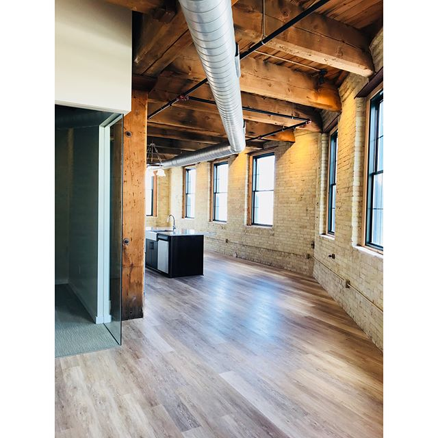 Nothing lights up quite like cream city brick and heavy timber. Our design goal is to preserve the historical features in the space while complementing it with modern touches.  The Docks Building #407 (pictured). Thanks for setting us up with these great fixtures @bbclighting !  #brick #timber #warehouse #loft #historic #preservation