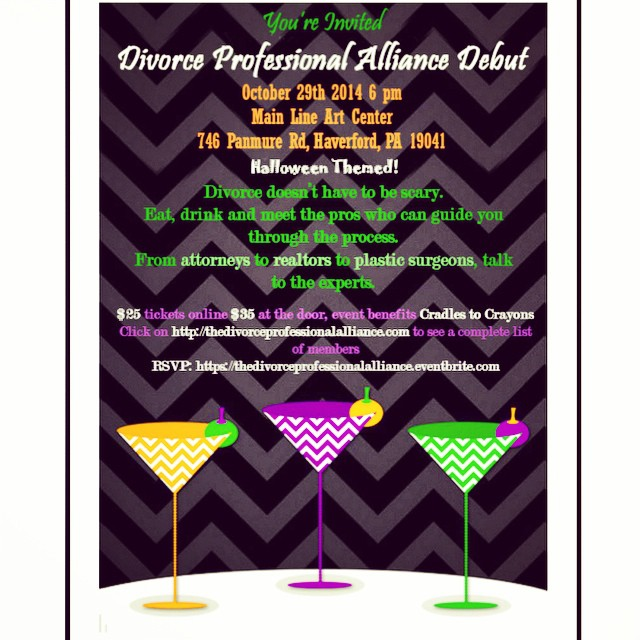 Join us at the #divorceprofessionalalliance #debut at the Main Line Art Center for #Halloween