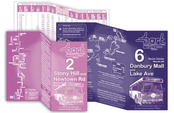 """Redesigned printed maps that were originally larger than 11x17"""" and included confusing folds,to a pocketable 4""""x6"""" double coated cardstock size. Printed in mass quantities, and increasing availability throughout the ridership area."""