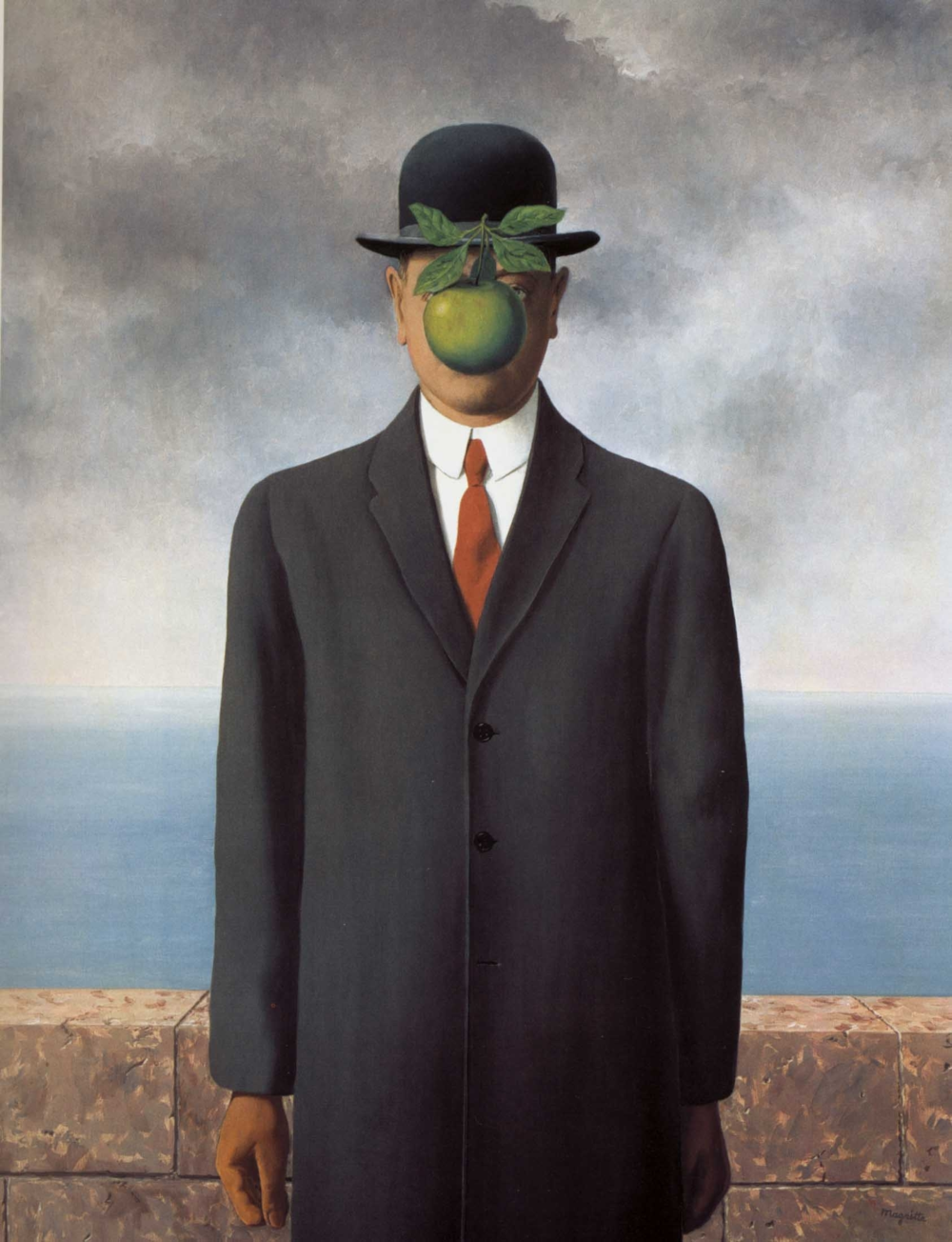 "The Son of Man, artist: Rene Magritte, 1964, oil on canvas 45"" X 35"""