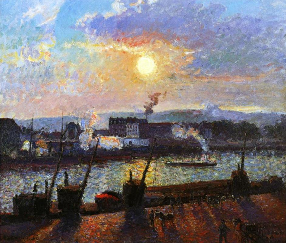 """Sunset Rouen"" by Camille Pissarro"
