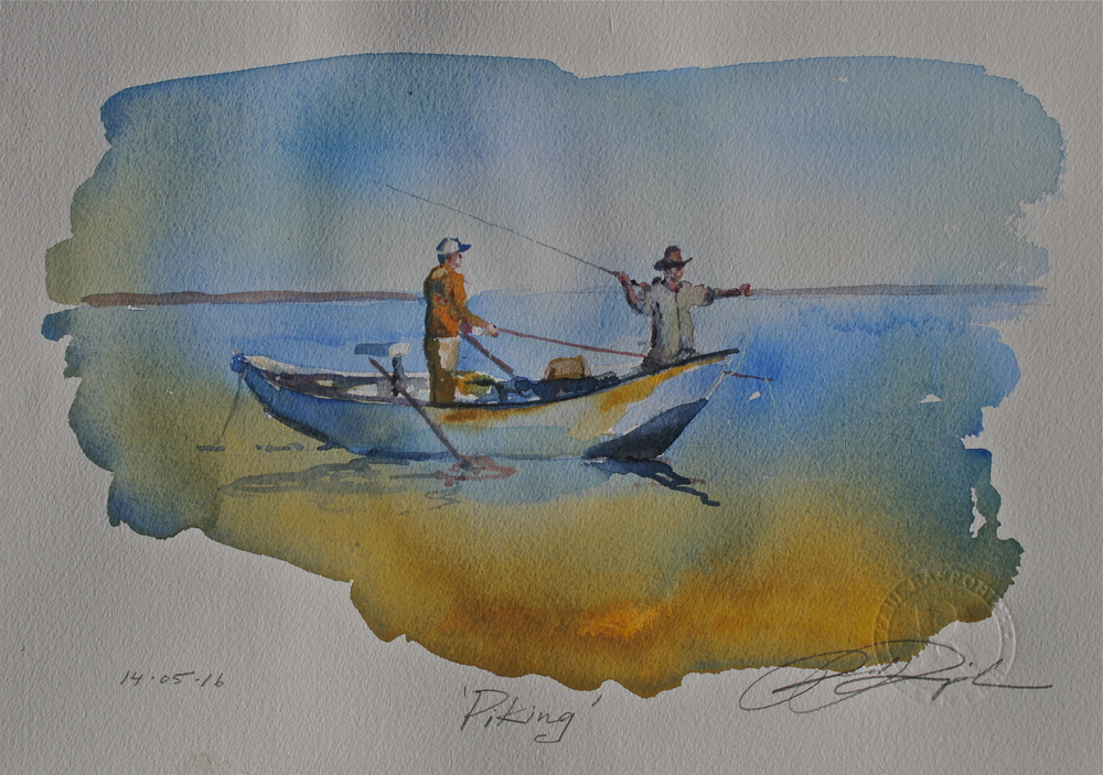 "Win this original hand signed watercolour with artist's seal by Paul Rasporich, ""Piking,"" 9 x 12 inches."