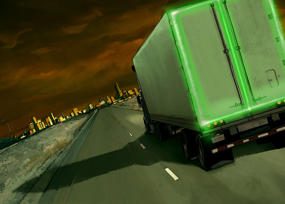 Nuclear Truckers - Illustration on nuclear highway transportation.