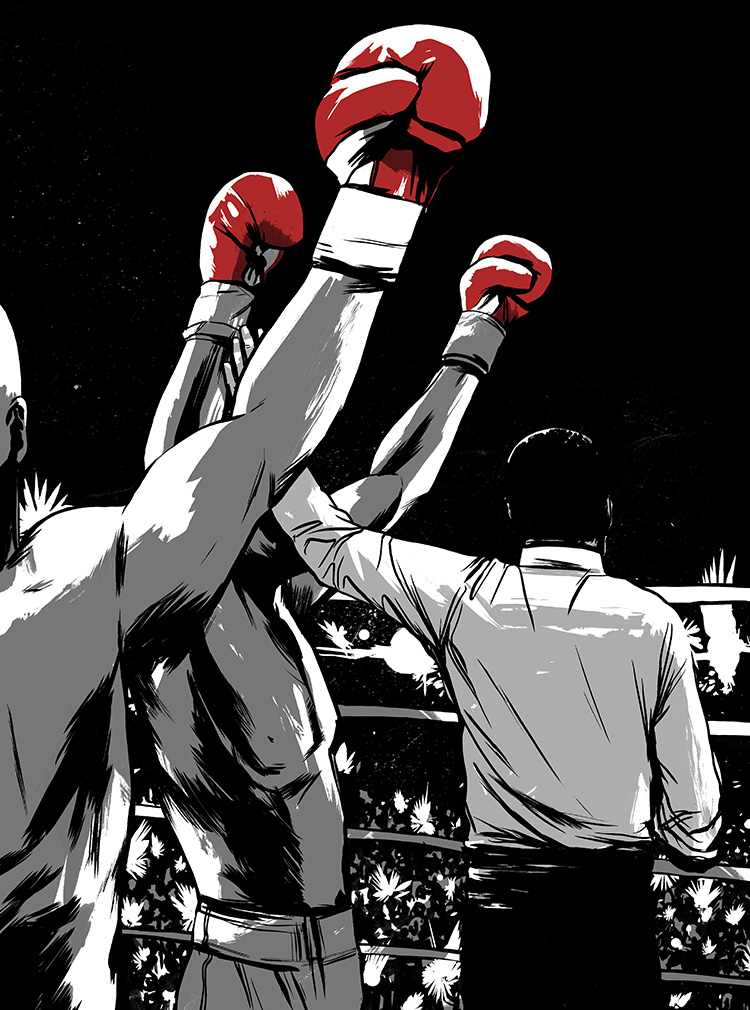 Hagler vs. Leonard - Illustration for an article on the disputed Heavyweight Championship fight.