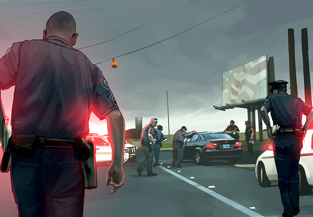 Shakedown - Illustration for Mother Jones on The dangers of turning police officers into revenue generators.