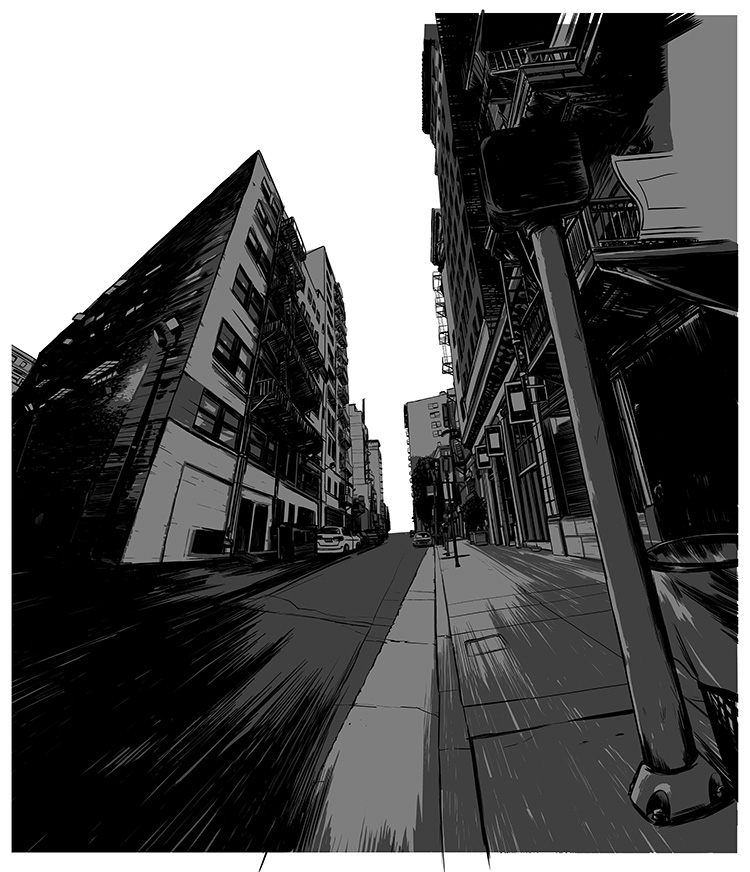 "Noir comic-inspired cityscape illustrations for the Nike ""Dominate Training"" campaign."