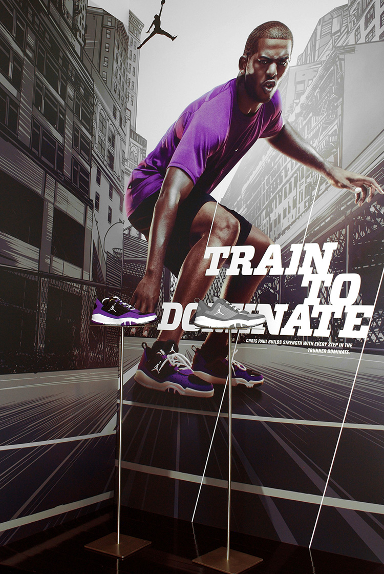 "Displays featuring   cityscape illustrations for the Nike ""Dominate Training"" campaign, featuring Chris Paul."