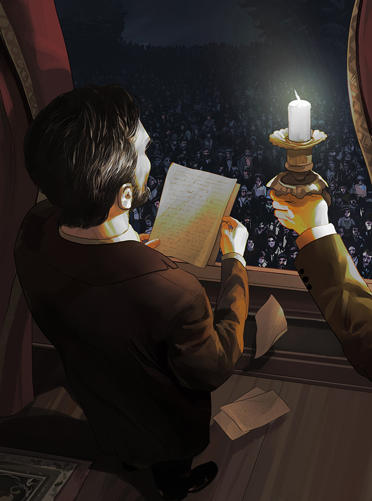 Lincoln - Illustration on Abraham Lincoln's last formal address.