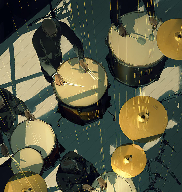 Nexus - Illustration for Maverick's opening concert by Nexus Percussion.