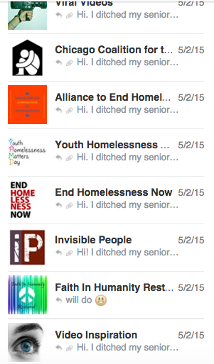 Here are some of the many Facebook messages I sent to outlets centered on inspiration and homelessness.