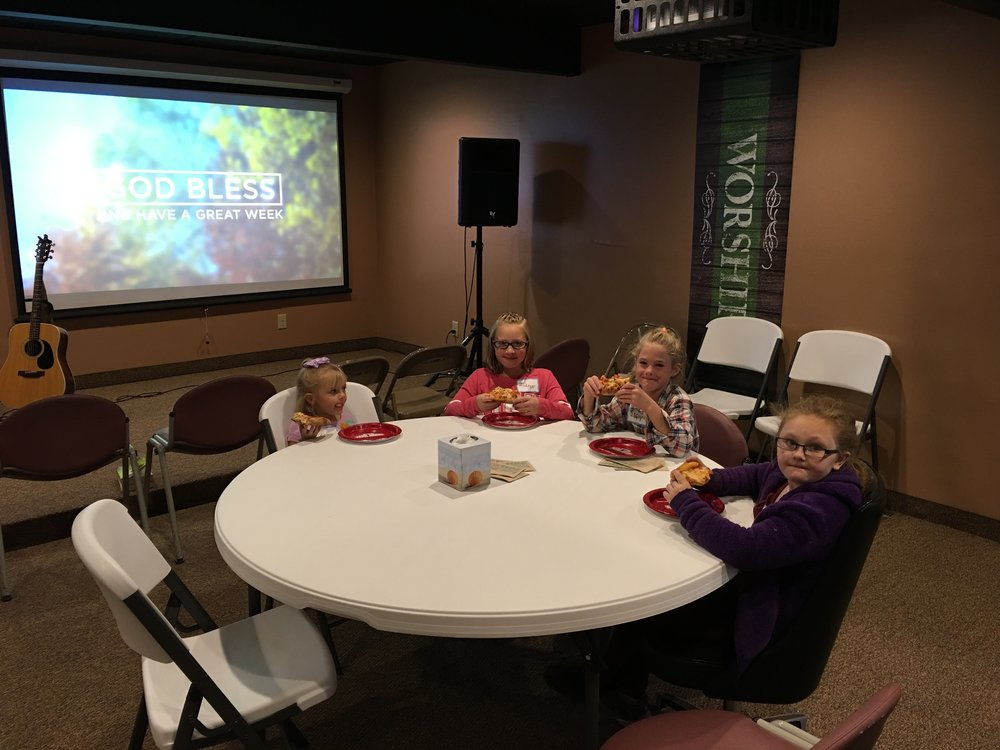 We are blessed with lots of children from every age at Christ Community. Pizza before the Fall Festival Fun!