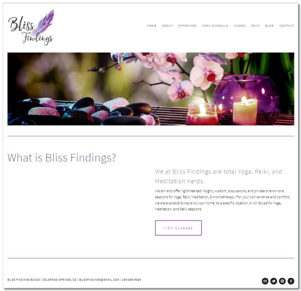 Bliss Findings - A small business offering light-hearted insight, wisdom, discussions, and private one-on-one sessions for Yoga, Reiki, Meditation, & Aromatherapy.