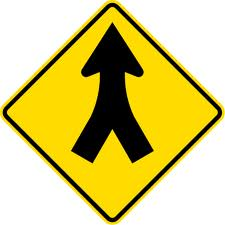 Merging road sign 2