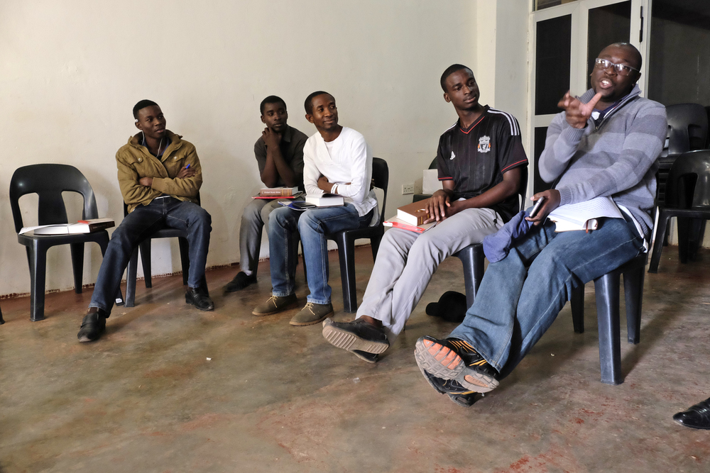 Percy Muleba (R) and four of our Livingstone students. We have a total of eight students, six men and two women from five churches!