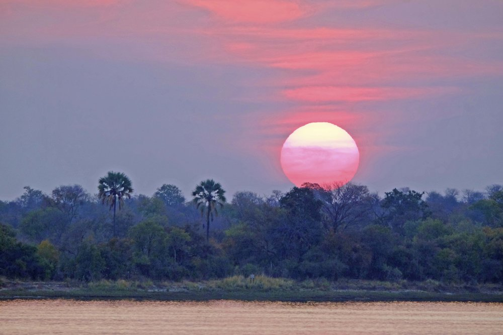 sunset on the zambezi river