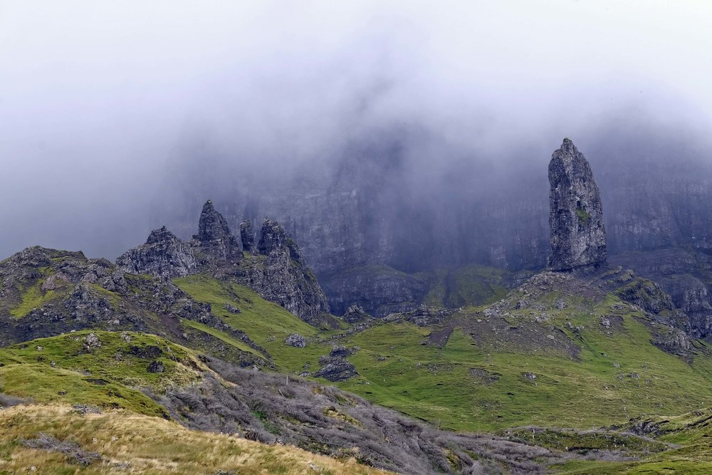 the old man of storr is 160' tall (far R), isle of skye