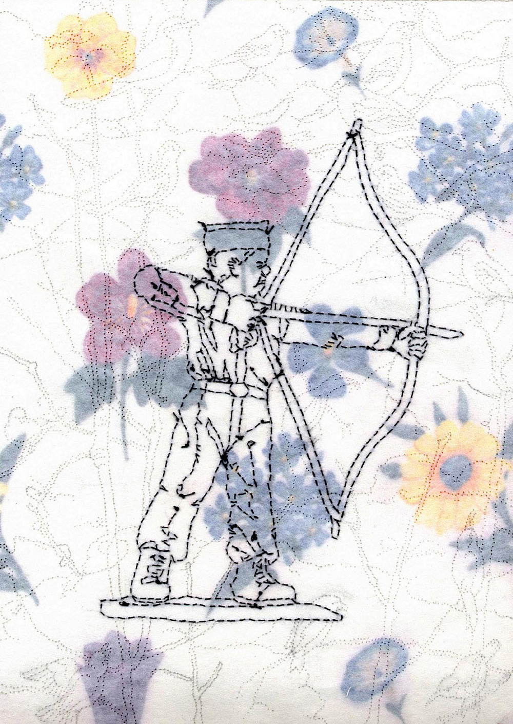 archer with birds and flowers