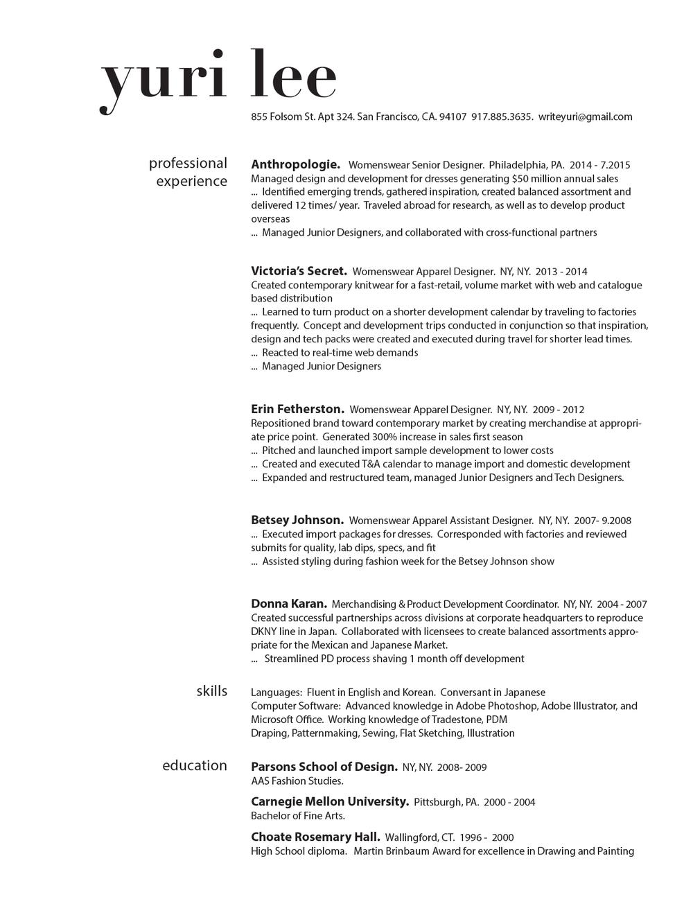 resume yuri lee design work middot about middot resume